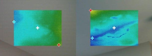 בהדמיה אינפרה אדום בתקרה נראה לחות בנסיגה קילופי טייח וצבע