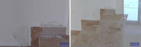 נמצאה רטיבות במדרגות, כמו כן גם קילופי טייח וצבע כתוצאה מרטיבות. שינוי צבע באריחי המדרגות במפלס העליון נראה גם כן.