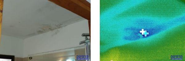 רטיבות בתקרה וקירות במספר מקומות באזור חדר המקלחת