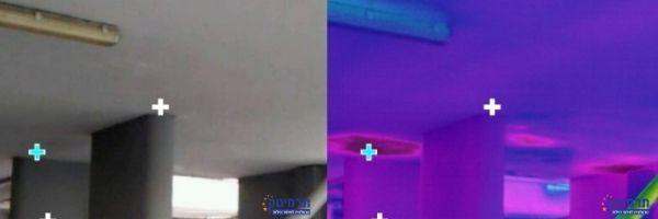 דוגמא לרטיבות חזקה בתקרה חניון