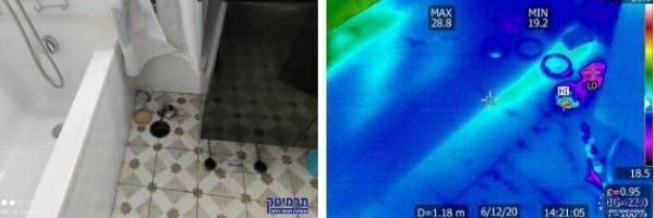 בהדמיה אינפרה אדום נראה הצטברות מים בתחתית קיר תומך אמבטיה.