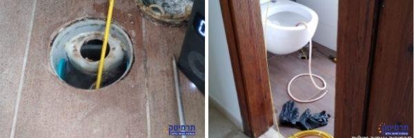 דוגמא לאיתור נזילה באמבטיה על ידי בלון פניאומטי בנקז אמבטיה שנמצא בו דלף