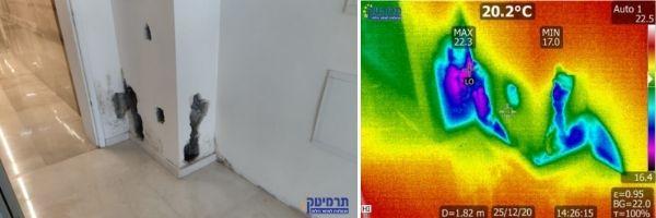 איתור נזילה בצינור אספקת מים ראשי בבניין בחיפה