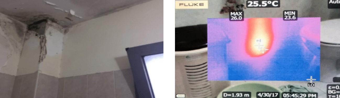 תמונה תרמית המראה רטיבות בקיר מאחורי משטחי קרמיקה ורטיבות ממושכת גורמת לפטריה בקיר ומזיקה לבריאות