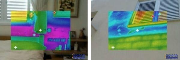 חדירת מים מסביב לחלונות בצילום על ידי מצלמה תרמית במעטפת המבנה וצילום התרמי מתוך הבית נראה את הרטיבות והנזקים מחדירת המים