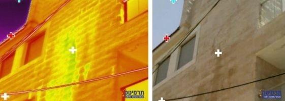דוגמה לאיתור נזילות ממוקד בירושלים – צילום תרמי וצילום רגיל של חדירת מים בקיר מעטפת כפול.